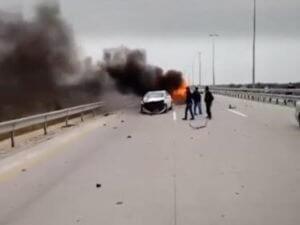 В страшной аварии в Баку заживо сгорели три человека