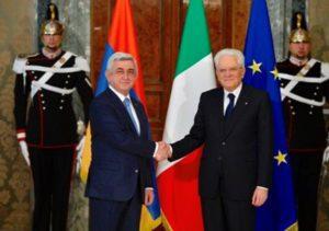 Серж Саргсян на переговорах с президентом Италии