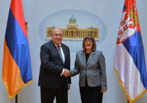 Президент Армении встретился со спикером Национального Собрания Сербии