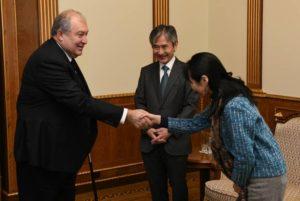 Президент Армении принял посла Японии