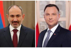 Никол Пашинян поздравил Анджея Дуду по случаю переизбрания на должность президента Польши