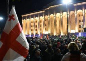 В Тбилиси возобновилась акция протеста