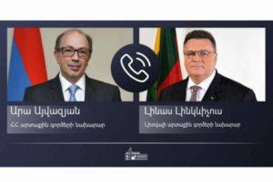 Ара Айвазян представил главе МИД Литвы усилия по нейтрализации гуманитарного кризиса в Арцахе