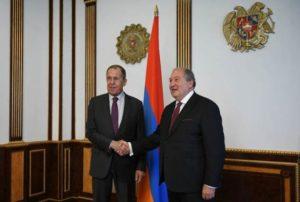 Президент Армении принял делегацию во главе с министром иностранных дел России