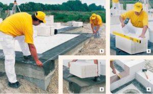 Как правильно класть пеноблок при строительстве стен?