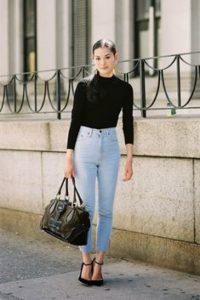 С чем носить джинсы с высокой талией?